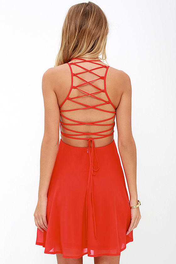 Good Deeds Red Lace-Up Dress 4