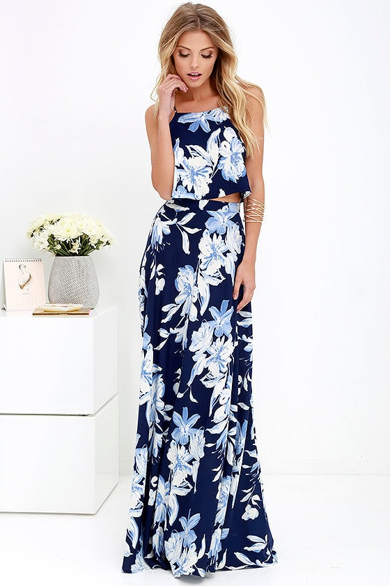 Lovely Blue Floral Print Dress - Two-Piece Dress - Maxi Dress - $89.00