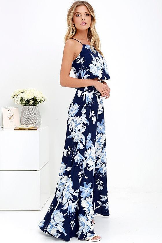 Lovely Blue Floral Print Dress - Two-Piece Dress - Maxi Dress - $89.00