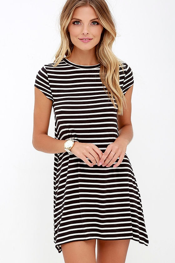 Billabong Last Minute Dress - Black and White Striped Dress ...