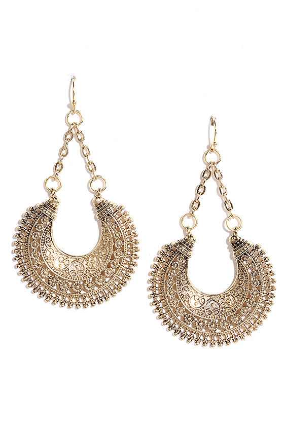 Sarasvati River Gold Earrings 1