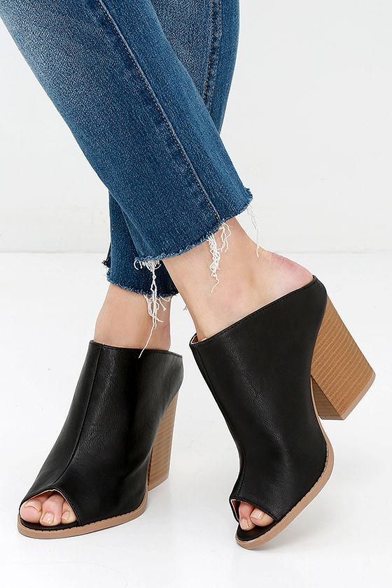 2a228c7f04ad6 Cute Black Mules - Vegan Leather Mules - Slip-On Heels - $30.00