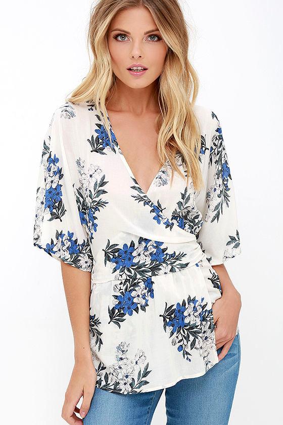 9510bf45246e18 Pretty Ivory Top - Floral Print Top - Kimono Top - Wrap Top -  42.00