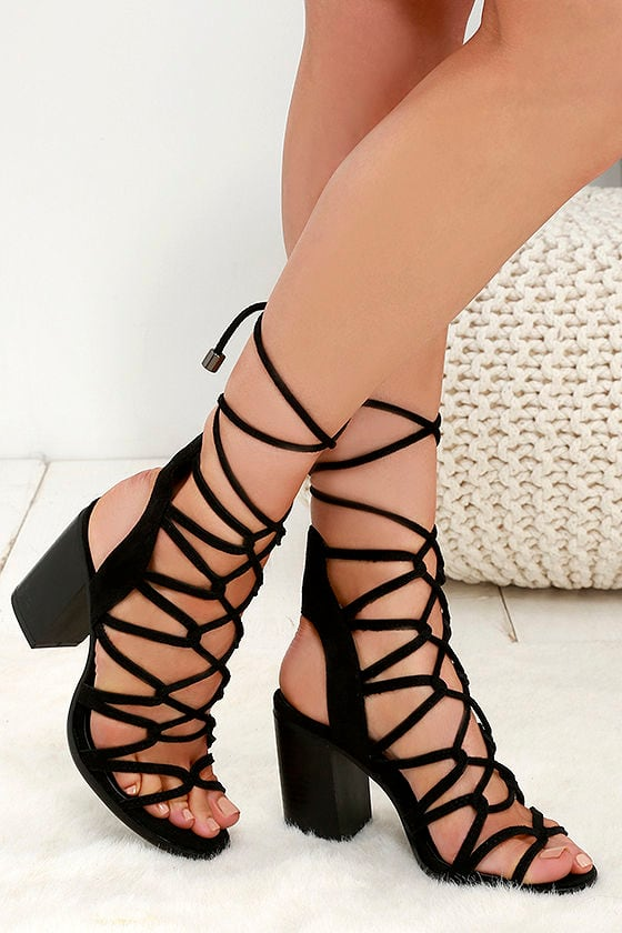 e42173a4737 Cute Black Heels - Lace-Up Heels - Caged Heels -  39.00