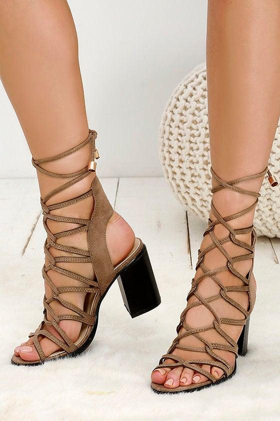Cute Khaki Heels - Lace-Up Heels - Caged Heels - Beige Heels - $39.00
