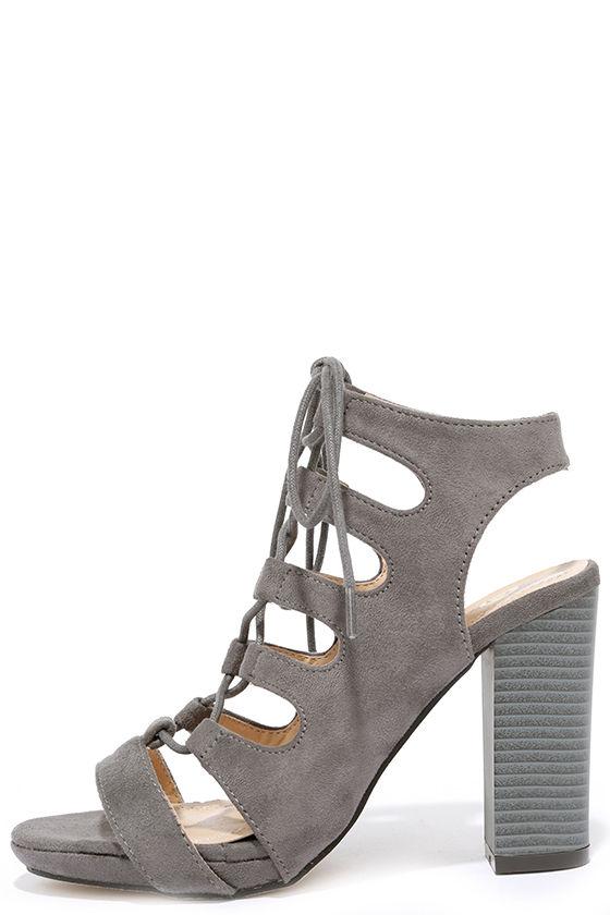 1afec4a0799 Cute Grey Heels - Suede Heels - Lace-Up Heels -  38.00