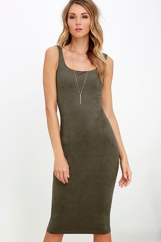 Chic Olive Green Dress - Suede Dress - Bodycon Dress ...