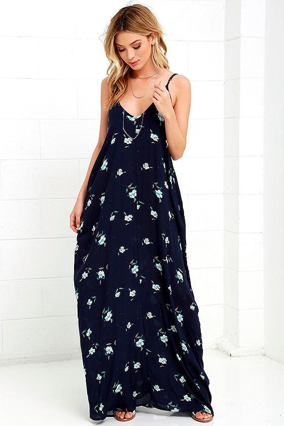 85830f740b Boho Maxi Dress - Navy Dress - Floral Print Dress -  54.00