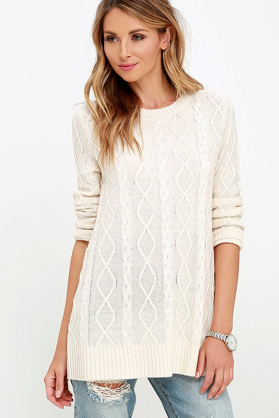 Cable Knit Sweater - Cream Sweater - Long Sleeve Top - $38.00