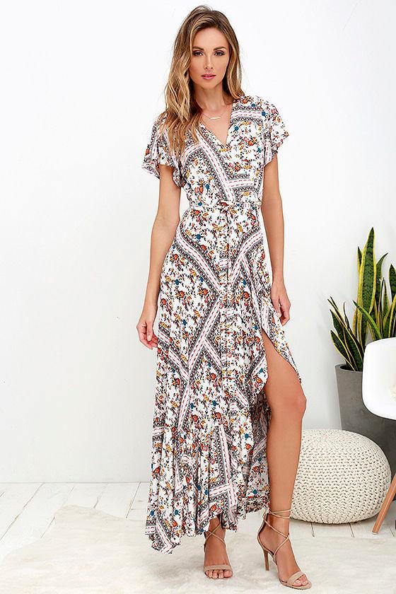 b056bd8e58 Boho Ivory Dress - Maxi Dress - Floral Print Dress - $68.00