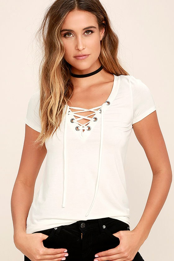 Lace-Up Tee - Ivory Top - Short Sleeve Top - White Top -  34.00 35e4cb741