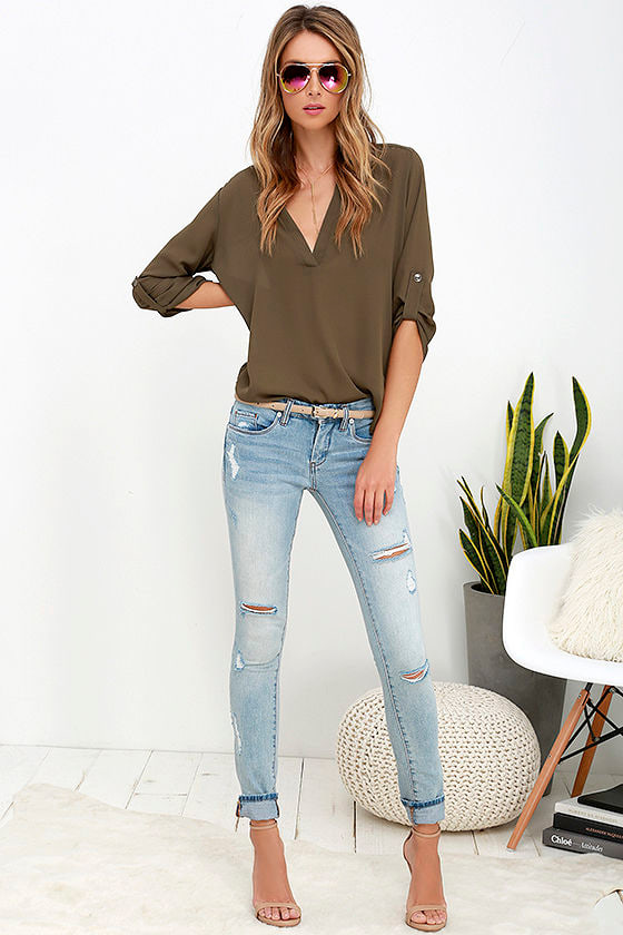 865d2ebb425f Blank NYC Skinny Classique - Distressed Jeans - Light Wash Jeans - Skinny  Jeans - $83.00