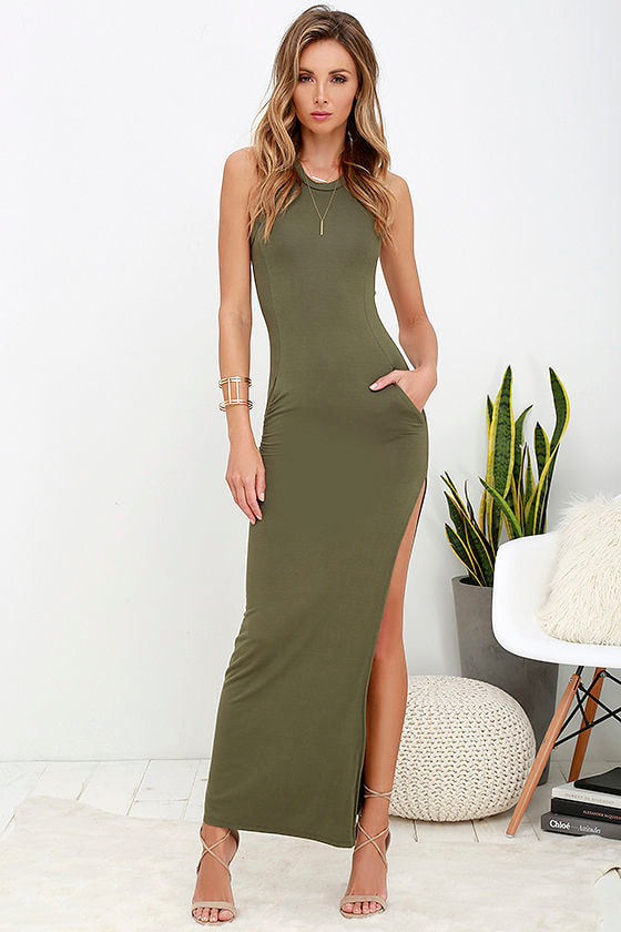 Olive Green Dress - Maxi Dress - Sleeveless Dress - $40.00
