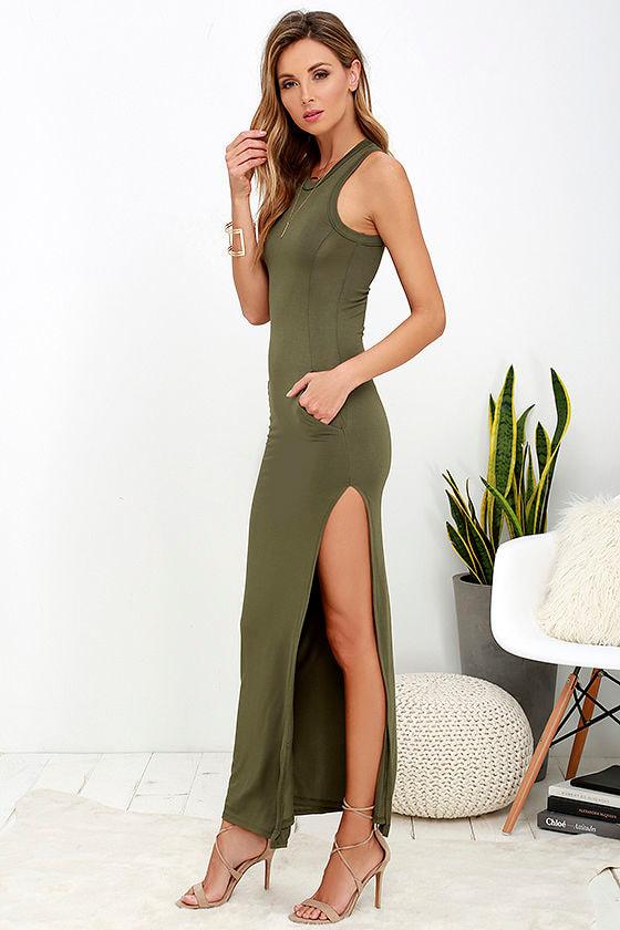 Olive Green Dress - Maxi Dress - Sleeveless Dress - $40.00