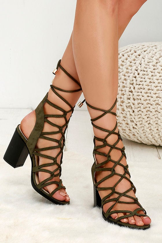 0b3f08ac2bb Cute Olive Heels - Lace-Up Heels - Caged Heels - Green Heels -  39.00