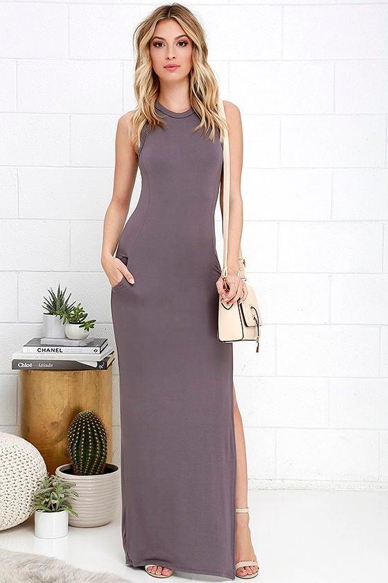 Shield and Sword Dusty Purple Sleeveless Maxi Dress 1