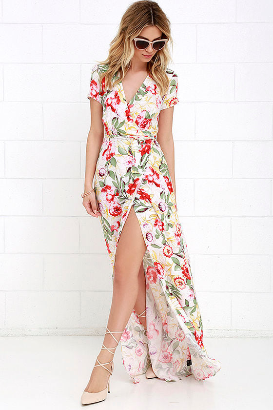 47c61093fe4 Lovely Ivory Maxi Dress - Floral Print Maxi Dress - Wrap Maxi Dress ...