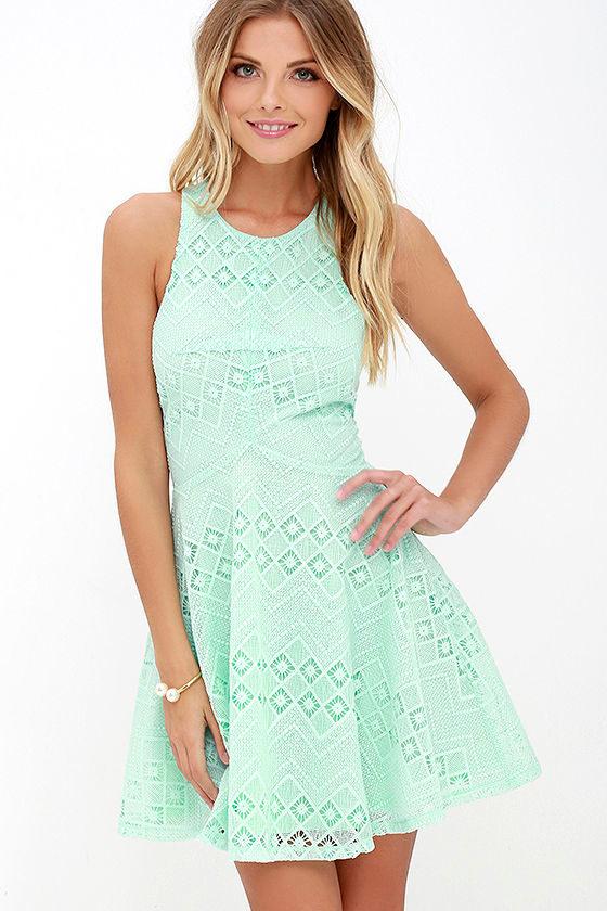 Charming Mint Green Dress - Lace Dress - Skater Dress -  59.00 c723e5899043