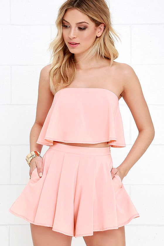 Squad Goals Peach Strapless Two-Piece Set at Lulus.com!