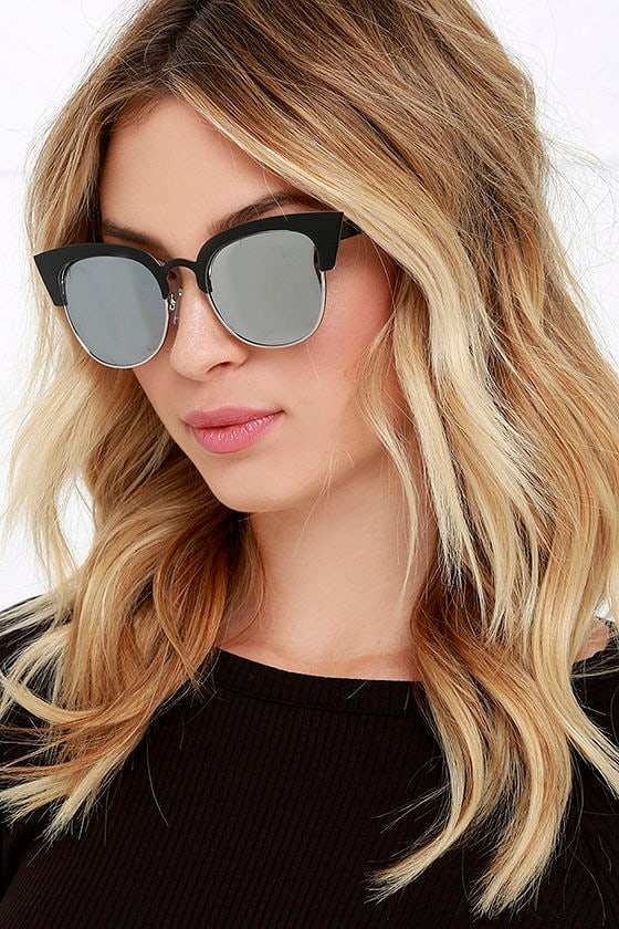 Black and Silver Sunglasses - Mirrored Sunglasses - Matte Sunglasses ... 9d7c346ad10