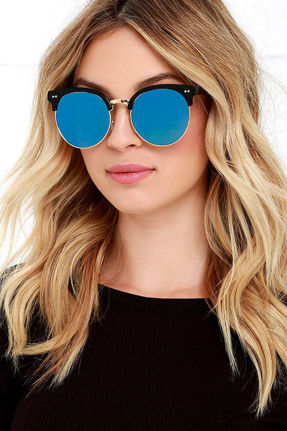 Black and Blue Sunglasses - Mirrored Sunglasses - Round Sunglasses -  14.00 3c36de996cc
