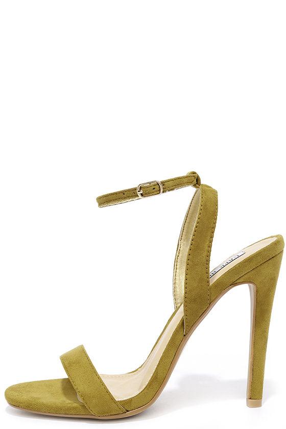 Green Heels - Ankle Strap Heels - Suede Stilettos - $32.00