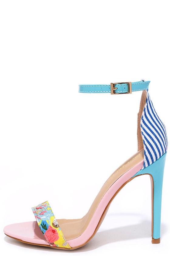 Cute Pink Heels - Blue Heels - Print Heels - Ankle Strap Heels ...
