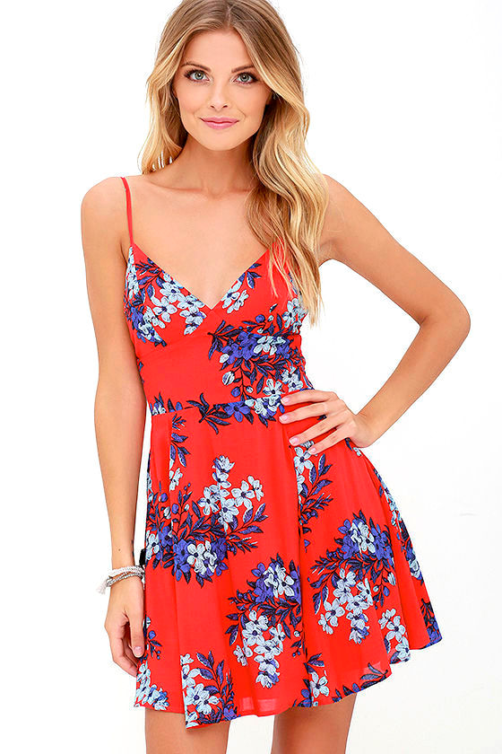 From the Heart Red Floral Print Skater Dress