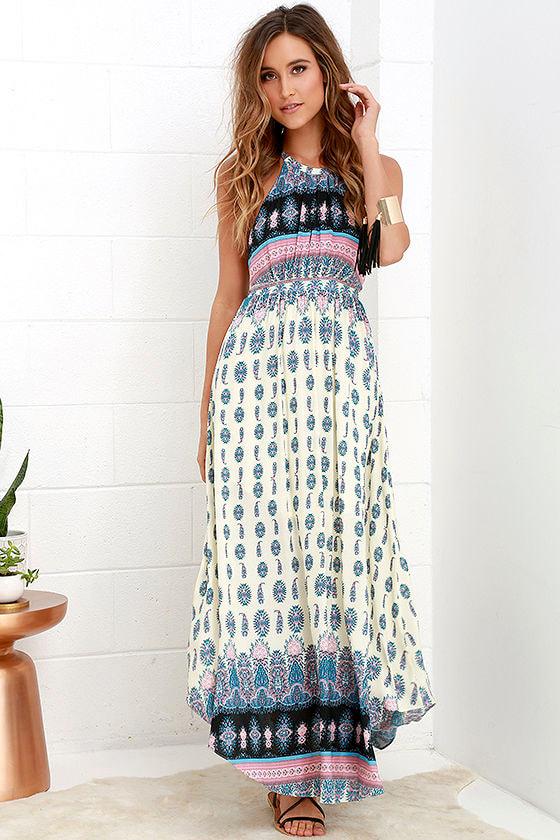 Stunning Print Dress - Cream and Blue Dress - Backless Maxi Dress ...