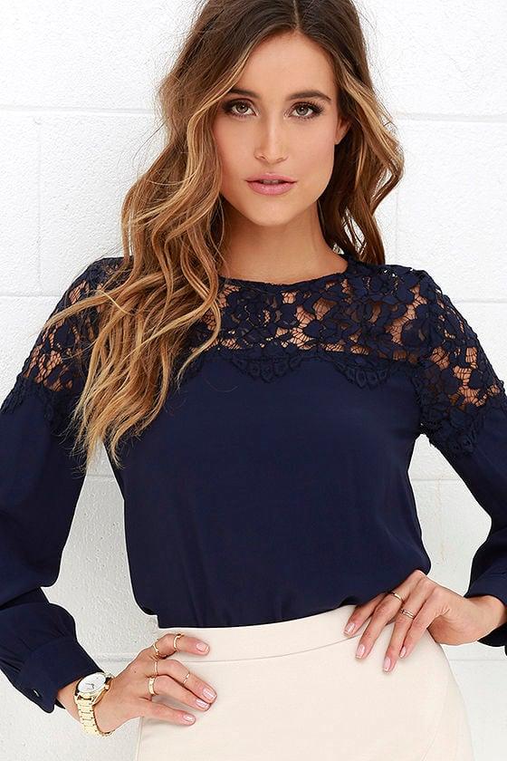 Lace Top - Navy Blue Shirt - Long Sleeve Top - $48.00