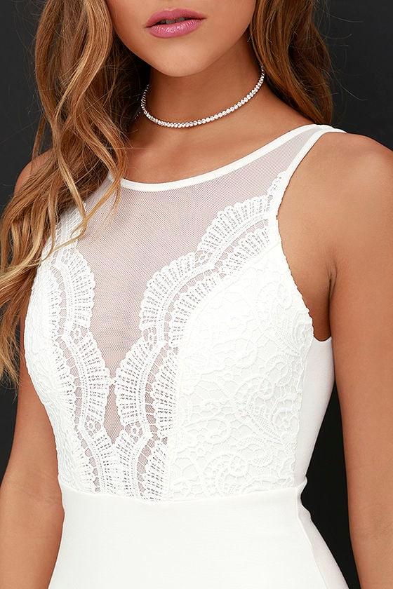Coquina White Lace Bodycon Dress 5