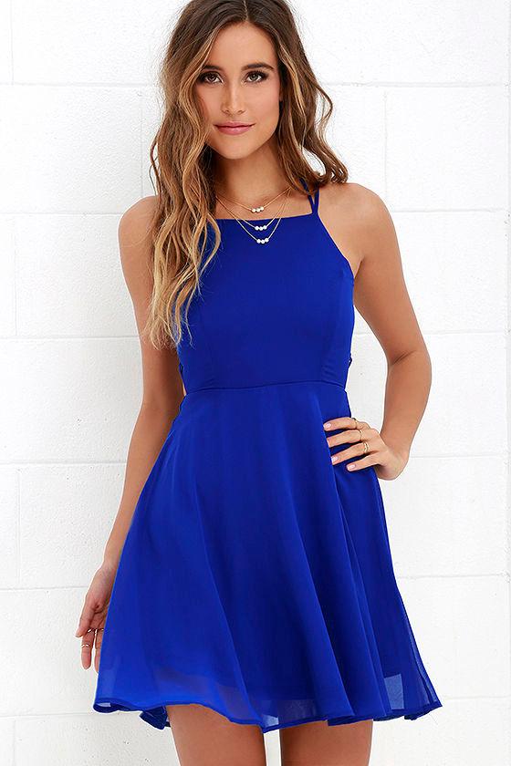 Sexy Royal Blue Dress - Lace-Up Dress - Backless Dress - $44.00