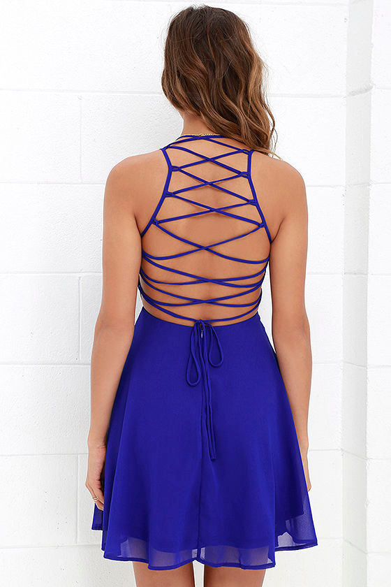 Good Deeds Royal Blue Lace-Up Dress 4