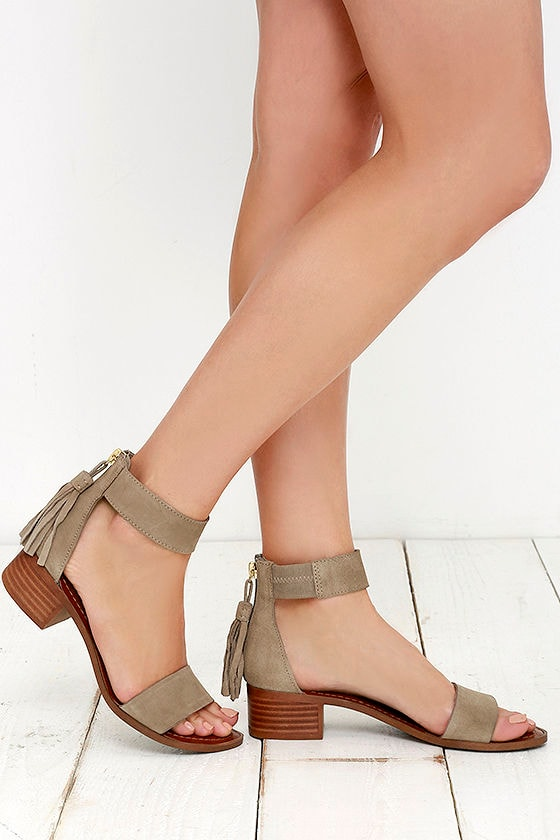 61e4b490b24 Cute Taupe Sandals - Suede Sandals - Heeled Sandals -  79.00