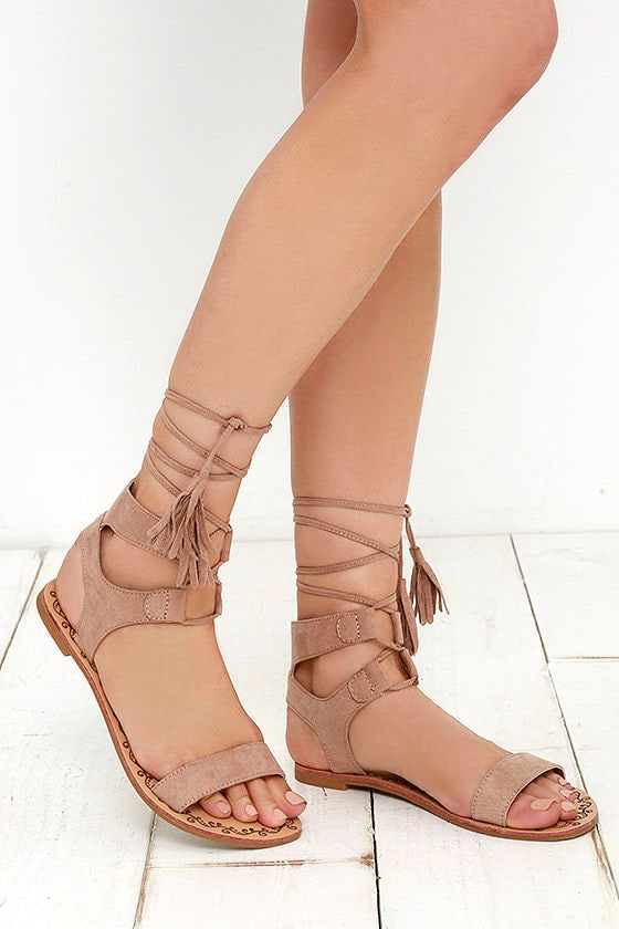 64f195befd721b Cute Taupe Sandals - Flat Sandals - Lace-Up Sandals - Boho Shoes -  20.00