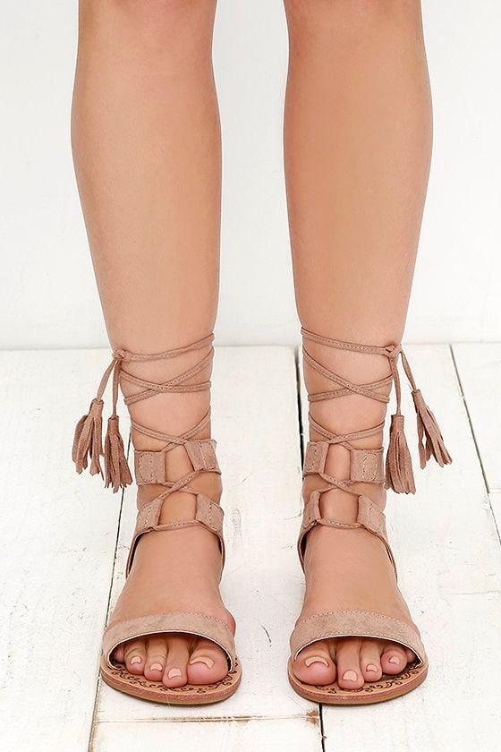 6edf3fea9b26d8 Cute Taupe Sandals - Flat Sandals - Lace-Up Sandals - Boho Shoes ...