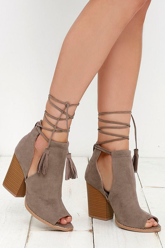 Cute Taupe Boots Lace Up Booties Ankle Booties 33 00