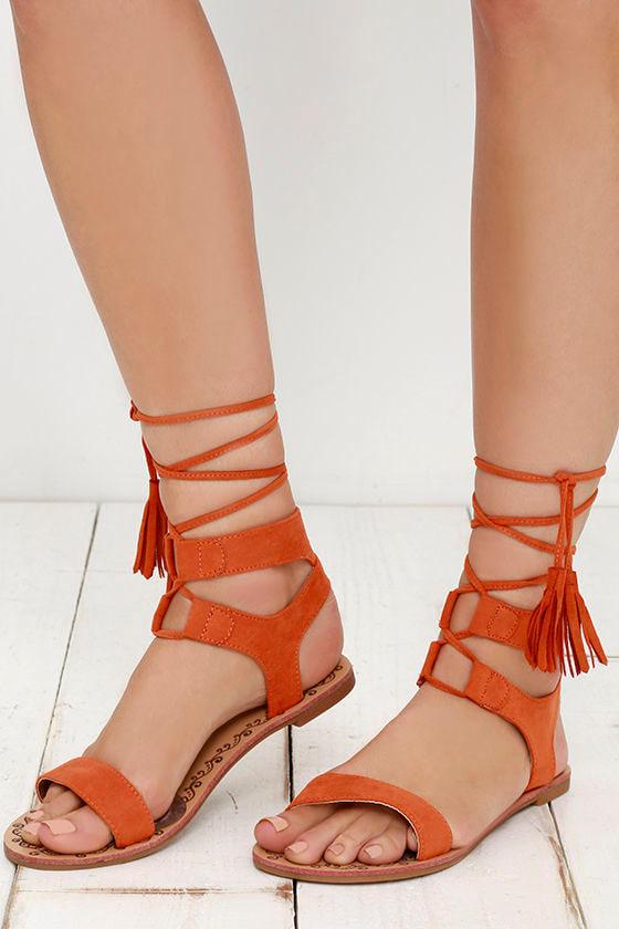 Soledad Canyon Burnt Orange Lace-Up Flat Sandals 1