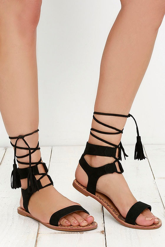 b3210ce7cfd Cute Black Sandals - Flat Sandals - Lace-Up Sandals - Boho Shoes -  20.00