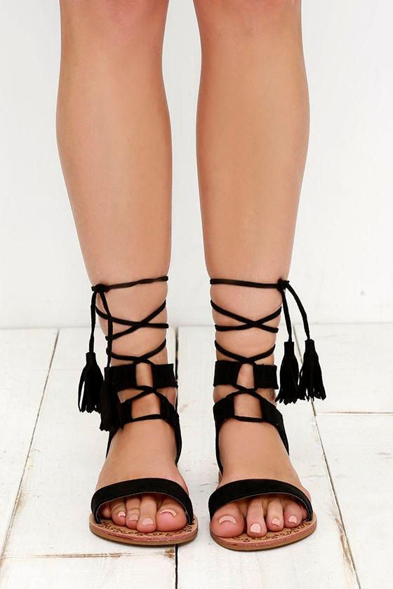 dee8955fc12792 Cute Black Sandals - Flat Sandals - Lace-Up Sandals - Boho Shoes ...