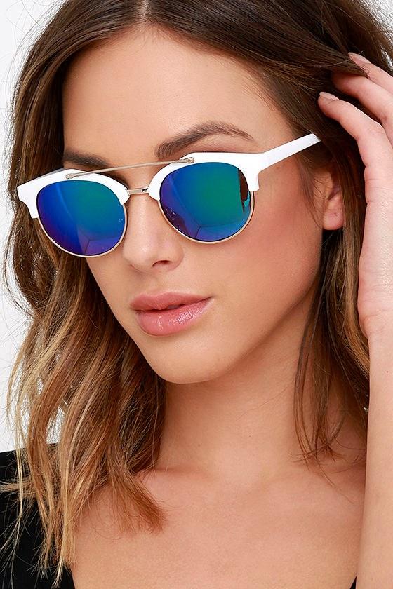 35ef7276a6 Chic White and Blue Sunglasses - Round Sunglasses - Mirrored Sunglasses -  $23.00