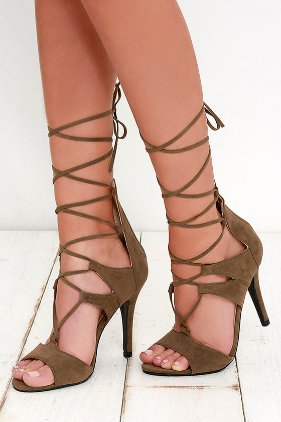 Sexy Brown Heels - Suede Heels - Lace-Up Heels - $33.00