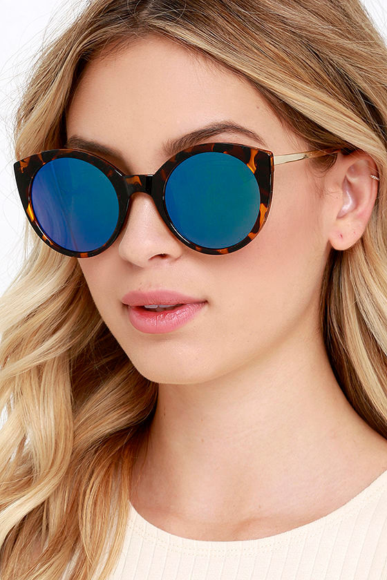 Round Reflective Sunglasses  cool tortoise and blue sunglasses mirrored sunglasses round