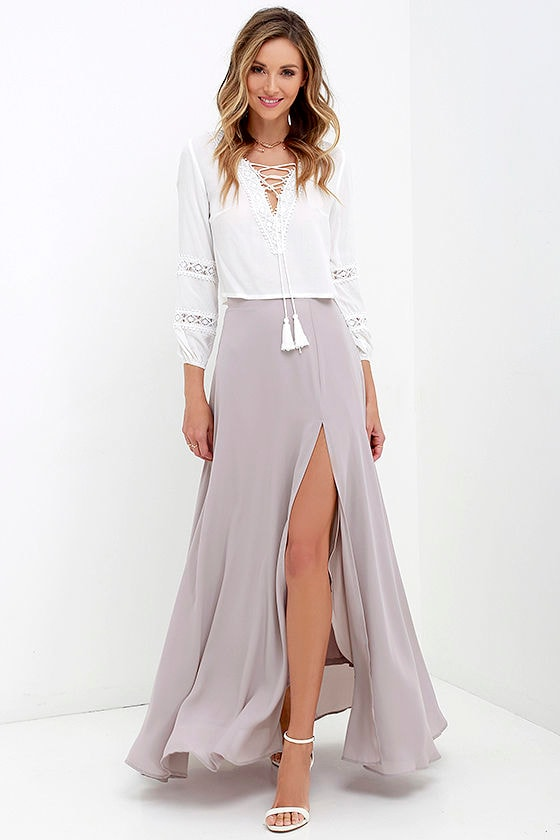 Lovely Taupe Maxi Skirt - High-Waisted Skirt - Slit Maxi Skirt ...