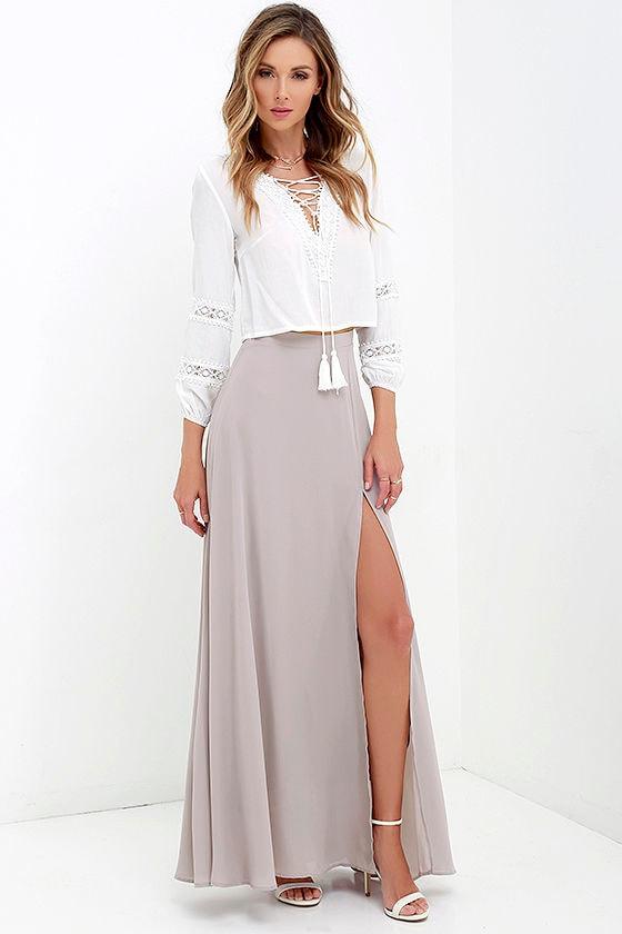 67e358cd95cb Lovely Taupe Maxi Skirt - High-Waisted Skirt - Slit Maxi Skirt -  49.00
