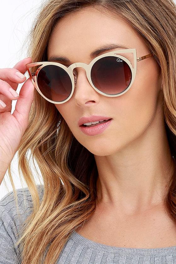 ff063325d2a Quay Invader Sunglasses - Gold Sunglasses - Cat Eye Sunglasses -  50.00