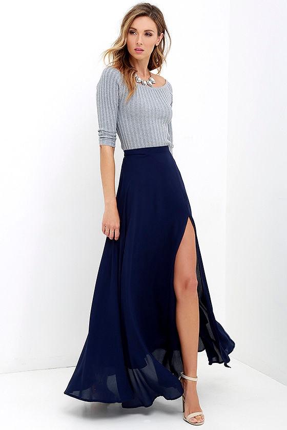 Lovely Navy Blue Maxi Skirt - High-Waisted Skirt - Slit ...