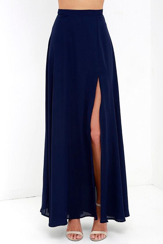 Lovely Navy Blue Maxi Skirt - High-Waisted Skirt - Slit Maxi Skirt ...