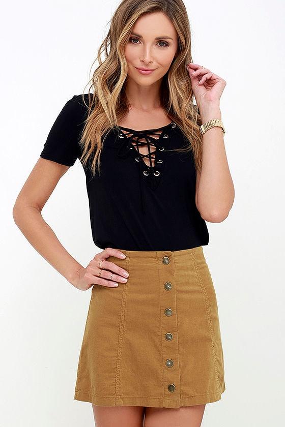 White Crow Austin Skirt - Tan Skirt - Corduroy Skirt - $55.00