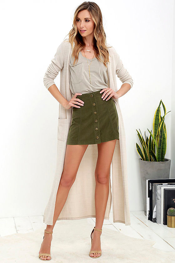 White Crow Austin Skirt - Olive Green Skirt - Corduroy Skirt - $55.00